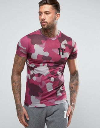 asos 11 Degrees T-Shirt In Burgundy Geo Camo