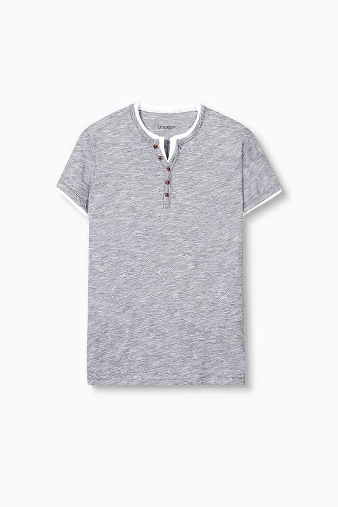 t-shirt homme col tunisien