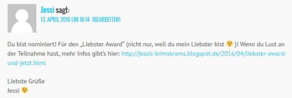 Erklärung von Jessi zum Liebster-Award