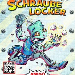 Cover des Spiels Schraube locker: Roboter mit Karten und Würfel