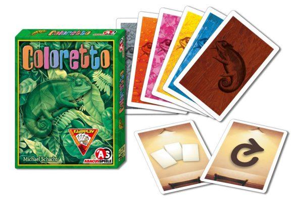 Karten von Coloretto: fünf Farbkarten und zwei übrige