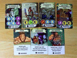 Dungeonkarten: 3 Ereignisse, 1 Mini-Boss, 1 Person, 2 Hindernisse