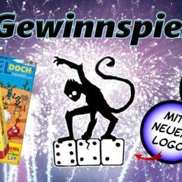 Gewinnspielplakat mit Bohnanza, Spiel doch und neuem Logo. Logo stellt Affe dar, der auf drei Würfel haut