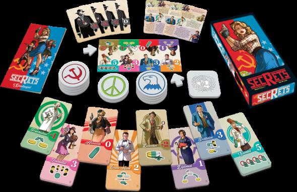 Spielmaterial von Secrets: Karten, Chips und Verpackung