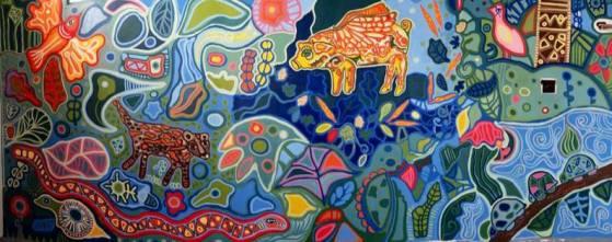 Mural en la fábrica de Andes Brewing Co, obra de la artista Cristina Salas