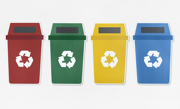 Set of trash bins with recycle symbol