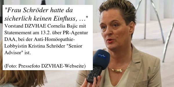Vorstand DZVHAE bestätigt Gespräch mit der PR-Agentur der Anti-Homöopathie-Lobbyistin Kristina Schröder