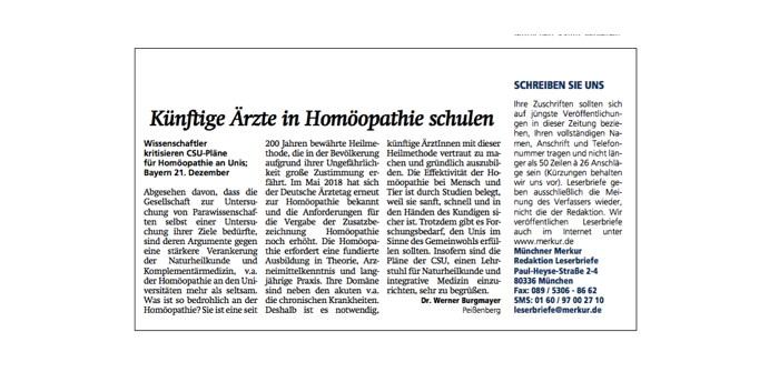 Arzt Dr. WernerBurgmayer kritisiert Anti-Homöopathie-Lobby und Skeptiker in Leserbriefen