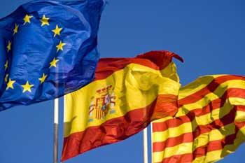 Banderas UE España Catalunya