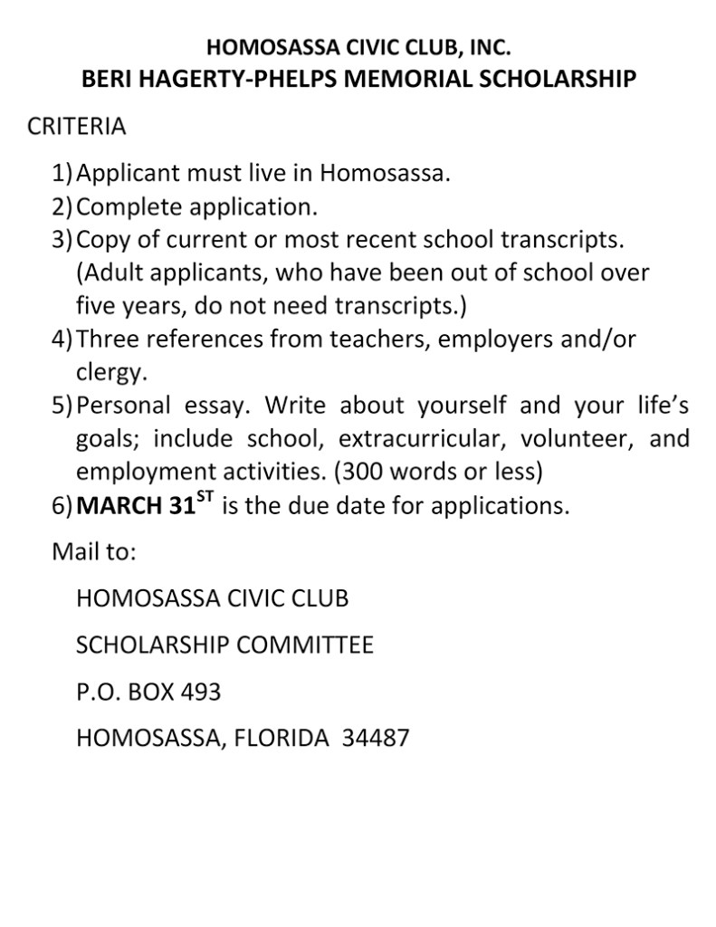 Beri Hagerty Phelps Memorial Scholarship Homosassa Civic