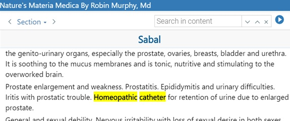 homeopathic catheter – Sabal serrulata
