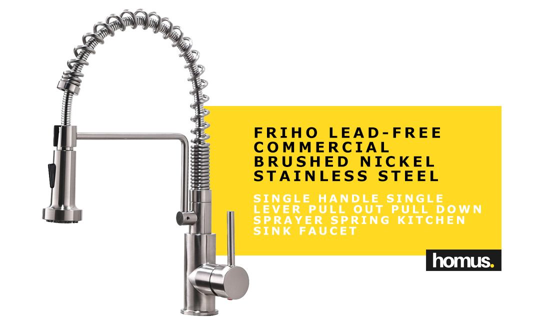 Friho Lead-Free Commercial Brushed Nickel Stainless Steel Single Handle Single Lever Pull Out Pull Down Sprayer Spring Kitchen Sink Faucet