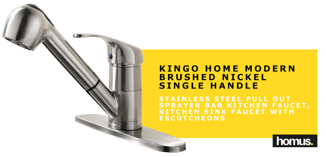 KINGO HOME Modern Brushed Nickel Single Handle Stainless Steel Pull Out Sprayer Bar Kitchen Faucet, Kitchen Sink Faucet with Escutcheons