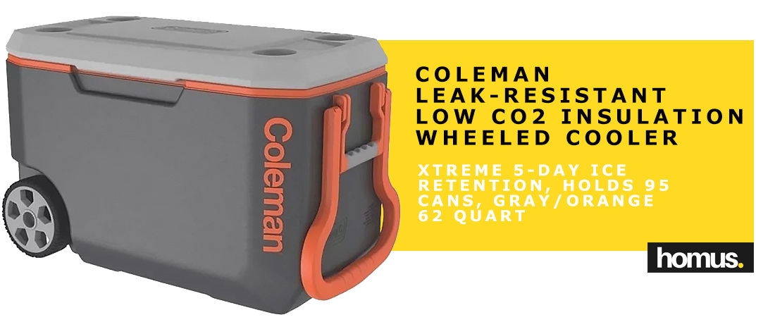Coleman Leak-Resistant Low CO2 Insulation 62 Qt. Xtreme 5-day Ice Retention Wheeled Cooler