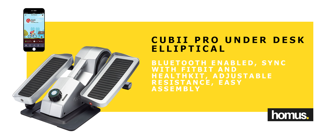 Cubii Pro Under Desk Elliptical, Bluetooth Enabled, Sync w FitBit and HealthKit, Adjustable Resistance, Easy Assembly