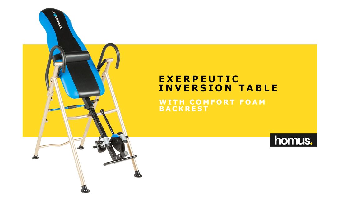 Exerpeutic Inversion Table with SURELOCK Safety Ankle Ratchet System and Lumbar Support