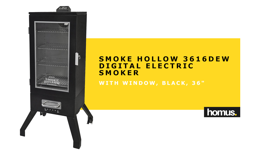 Smoke Hollow 3616DEW 36-Inch Digital Electric Smoker with Window Black