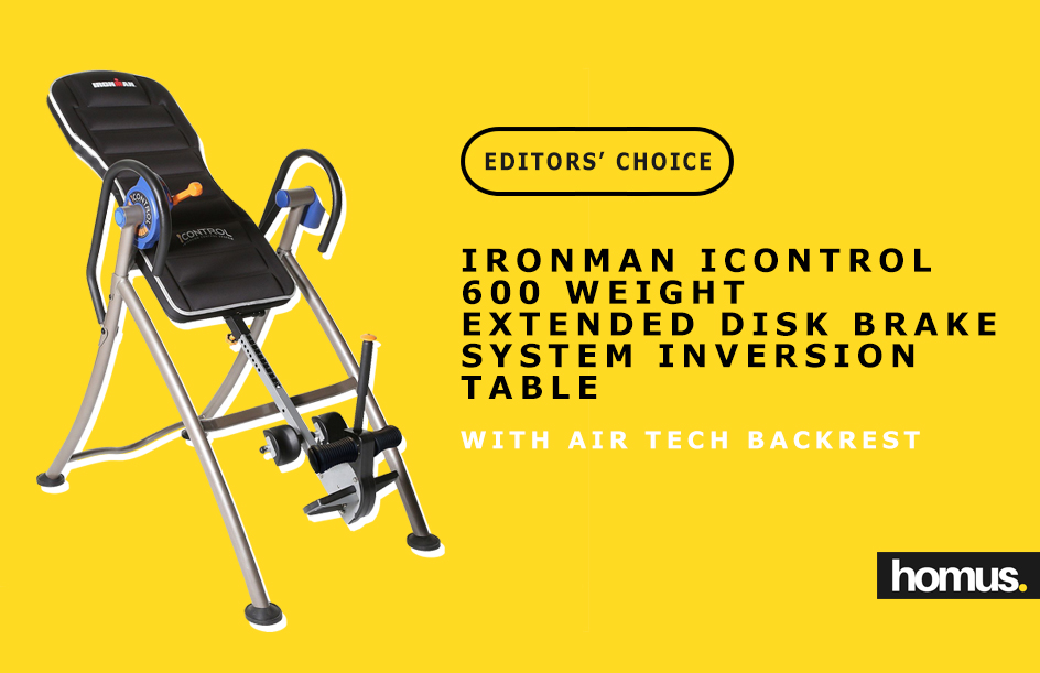 Ironman iControl 600 Weight Extended Disk Brake System Inversion Table with Air Tech Backrest -
