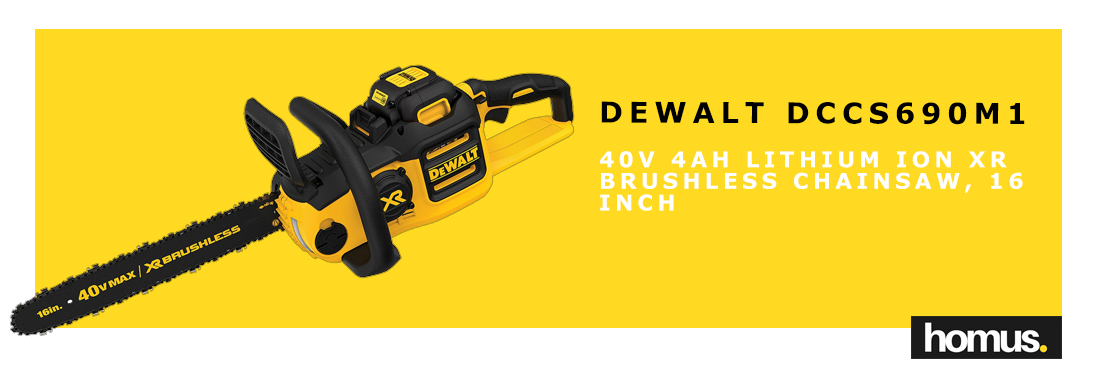 DEWALT DCCS690M1 40V 4AH Lithium Ion XR Brushless Chainsaw, 16 Inch