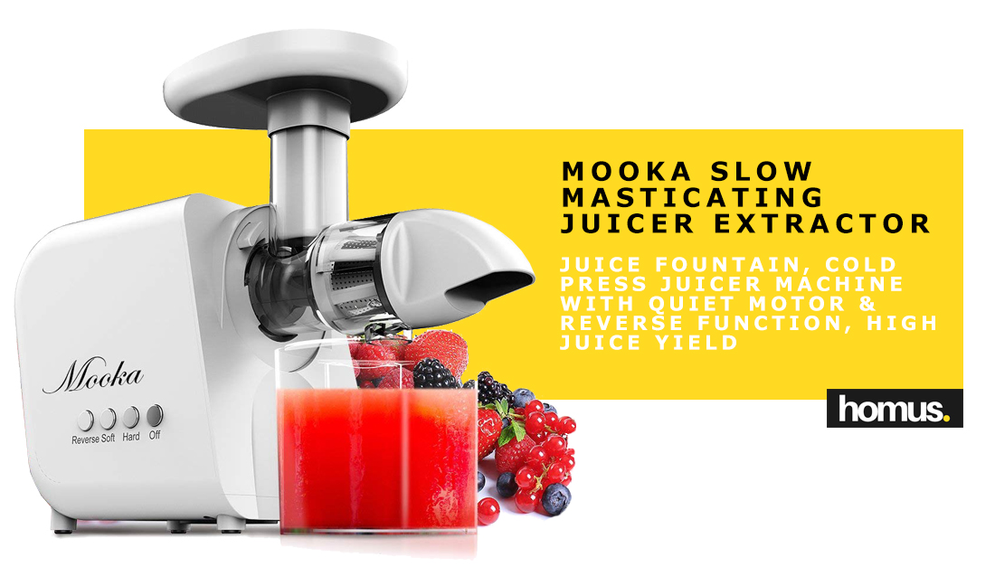 Juicer, Mooka Slow Masticating Juicer Extractor, Juice Fountain, Cold Press Juicer Machine with Quiet Motor & Reverse Function, High Juice Yield, Extract Healthy Nutrition from Fruits and