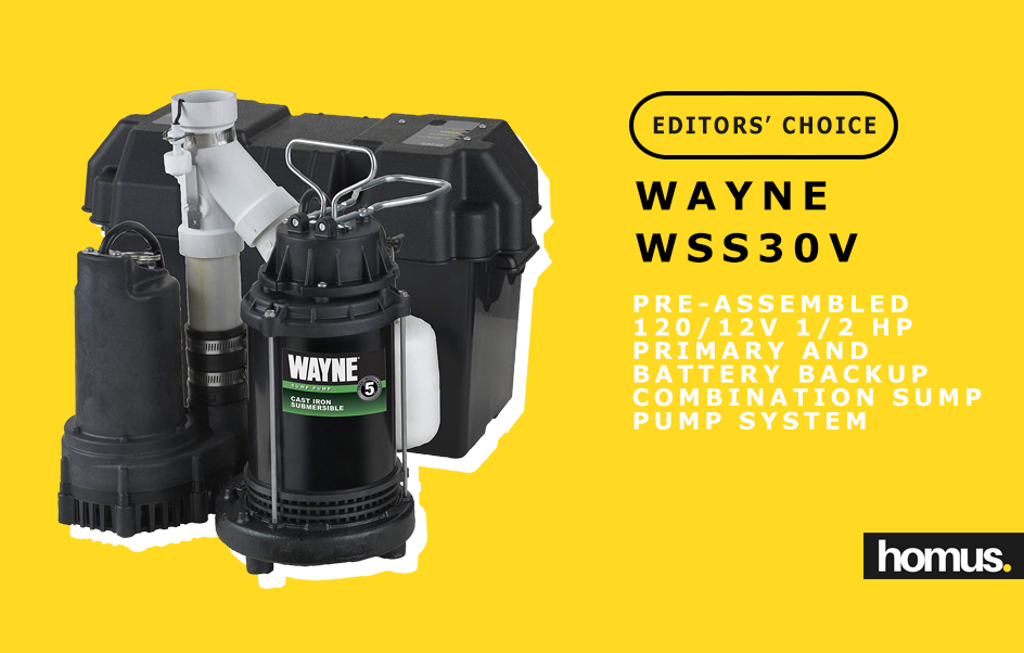 WAYNE WSS30V Pre-Assembled 120 12V 1_2 HP Primary and Battery Backup Combination Sump Pump System