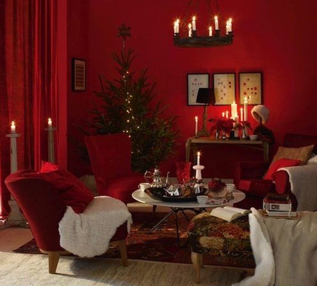 Sweet Living Room Decor Ideas With Red Color For Valentines Day 01