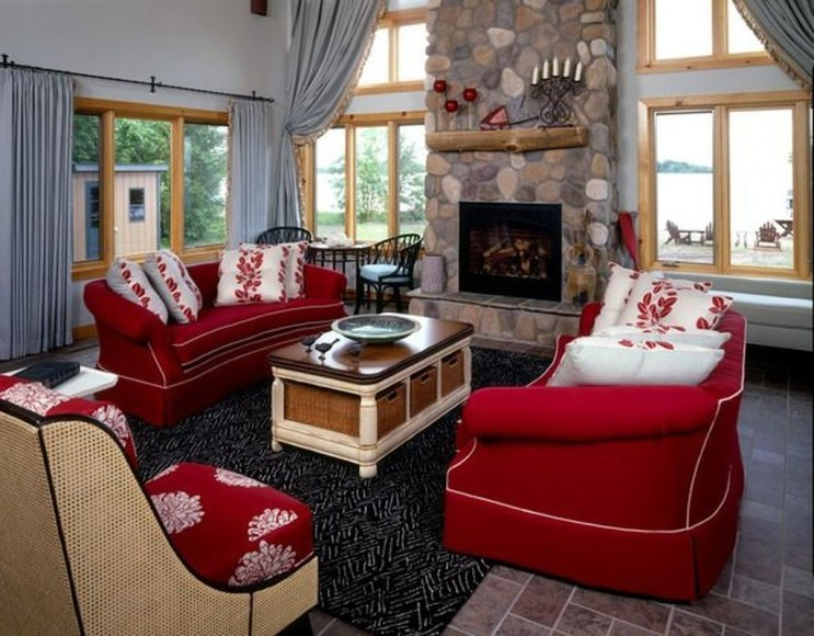 Sweet Living Room Decor Ideas With Red Color For Valentines Day 04