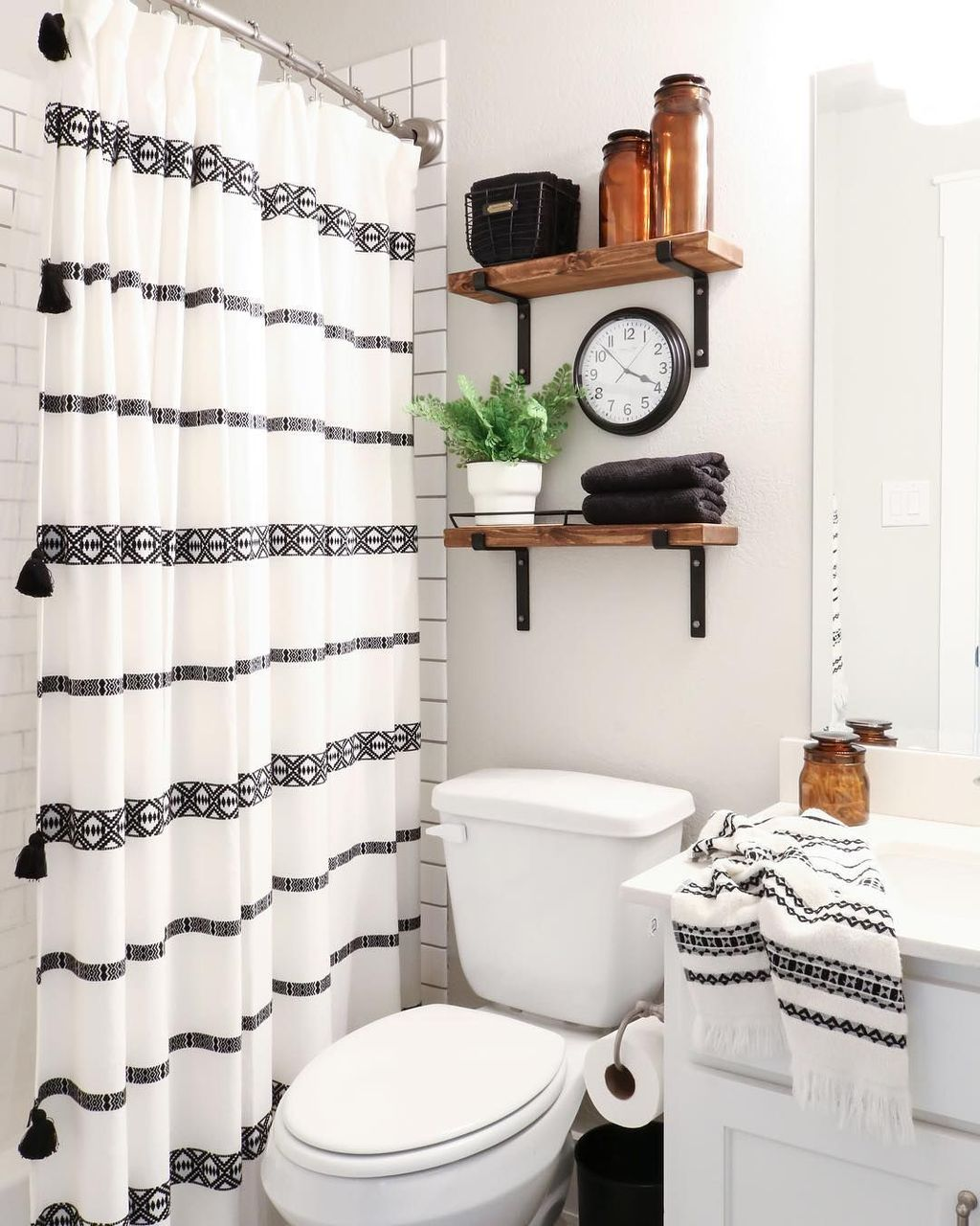 Amazing Black And White Shower Curtain For Your Bathroom Decor 01
