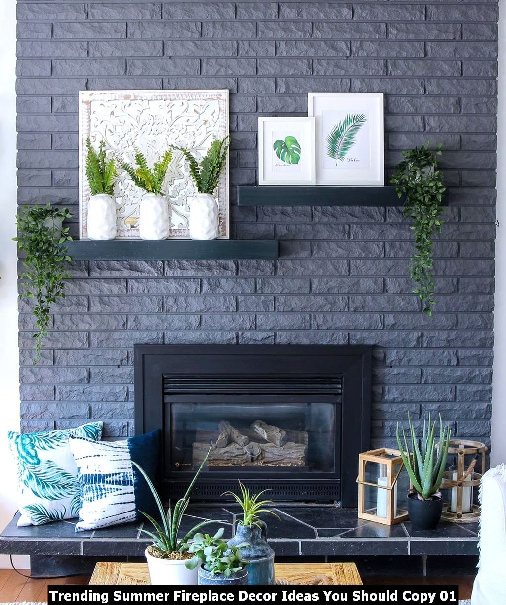 Trending Summer Fireplace Decor Ideas You Should Copy 01