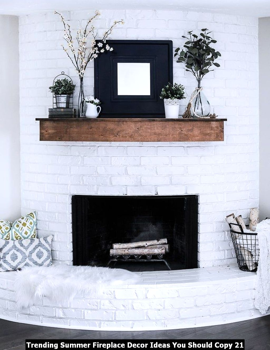 Trending Summer Fireplace Decor Ideas You Should Copy 21