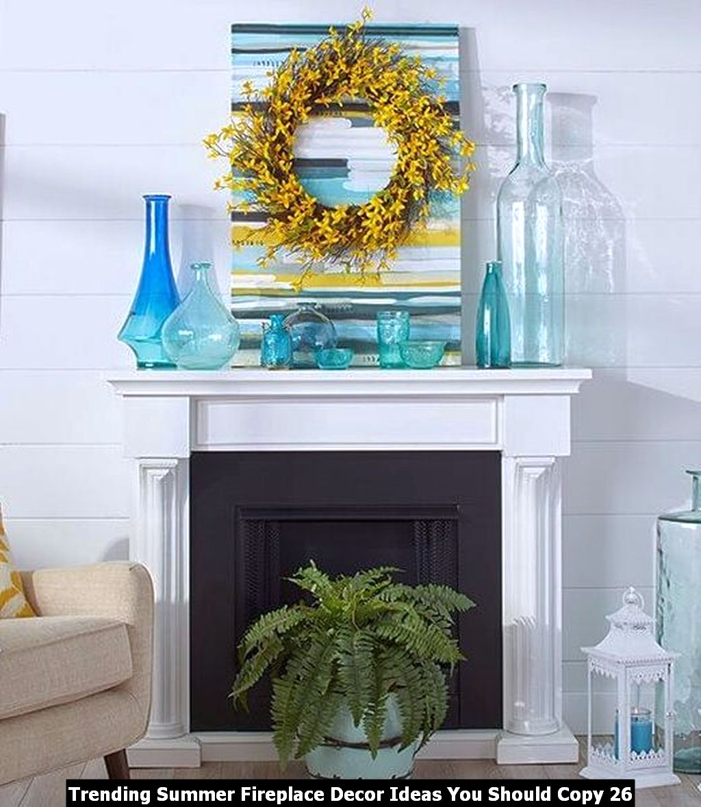 Trending Summer Fireplace Decor Ideas You Should Copy 26