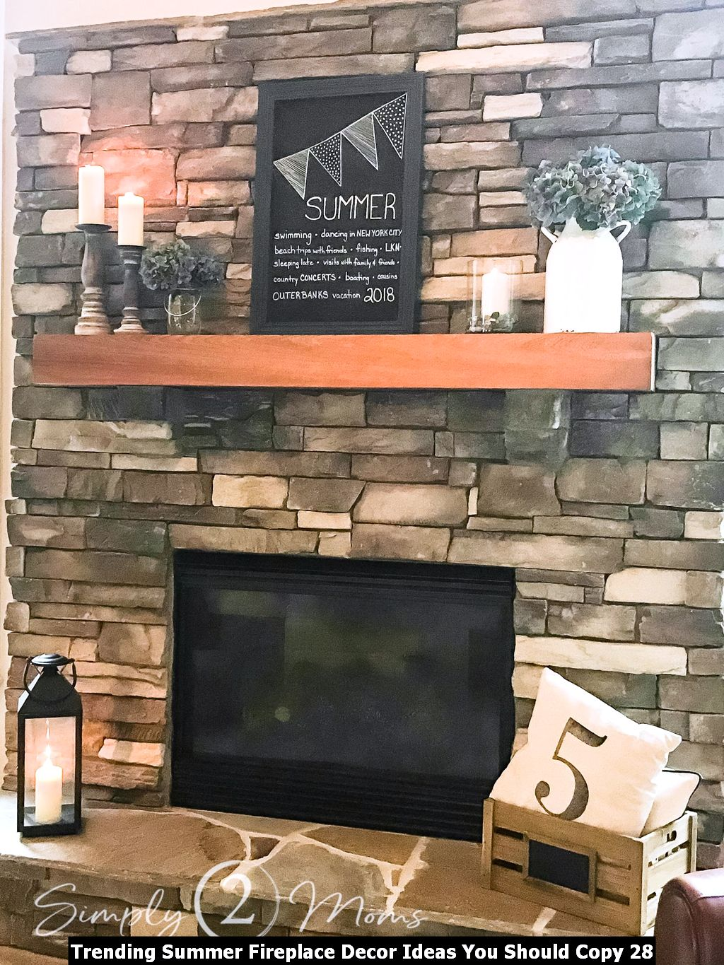 Trending Summer Fireplace Decor Ideas You Should Copy 28