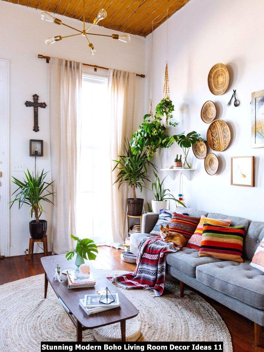Stunning Modern Boho Living Room Decor Ideas 11