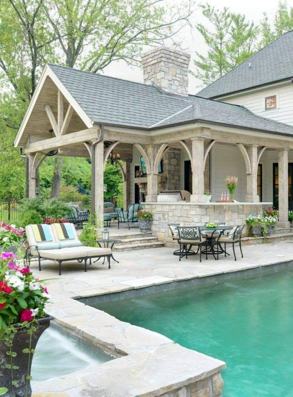 Awesome Backyard Patio Ideas With Beautiful Pool 33