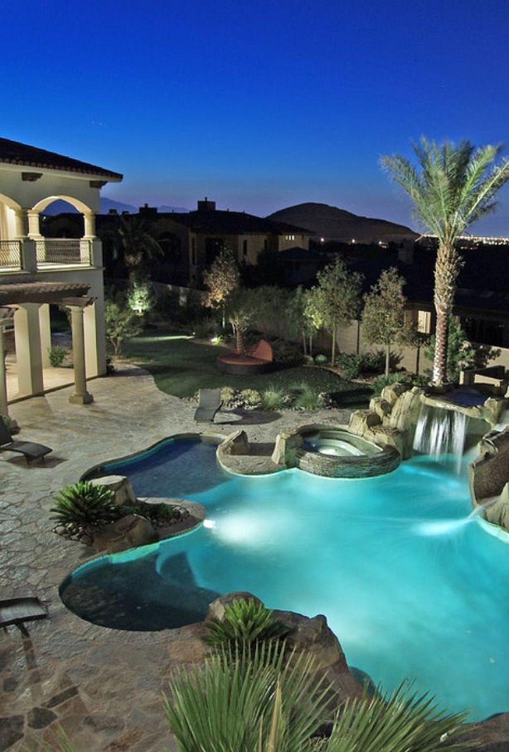 Awesome Backyard Patio Ideas With Beautiful Pool 40