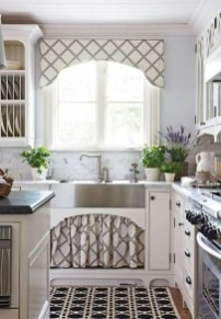 Magnificient Kitchen Cabinet Curtain Ideas To Look Stunning 33