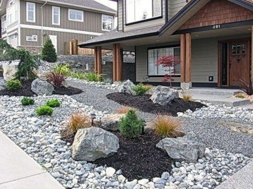 Modern Flower Beds Rocks Ideas For Front House To Try 47