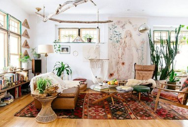 Stunning Bohemian Living Room Design Ideas 13
