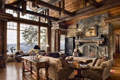 Amazing Lodge Living Room Decorating Ideas 10