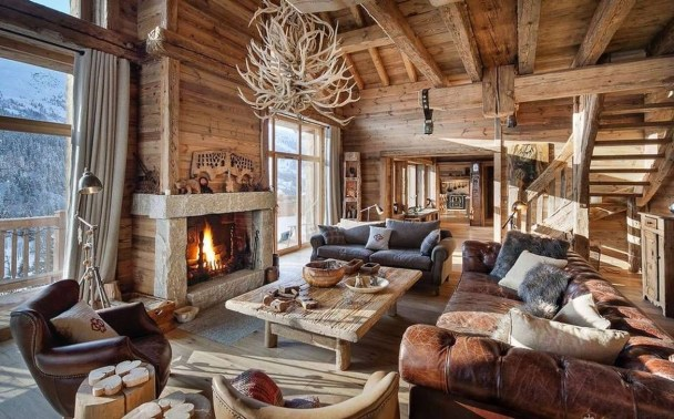 Amazing Lodge Living Room Decorating Ideas 45