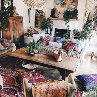 Elegant Bohemian Style Living Room Decoration Ideas 16