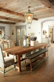Easy Rustic Farmhouse Dining Room Makeover Ideas 41