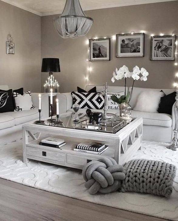 46 Cozy Living Room Ideas And Designs For 2019: 47 Cozy Black And White Living Room Design Ideas