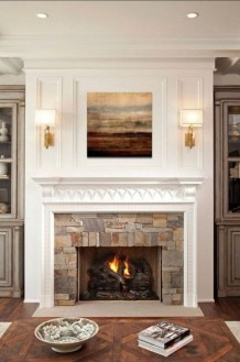 Rustic Farmhouse Fireplace Ideas For Your Living Room 27