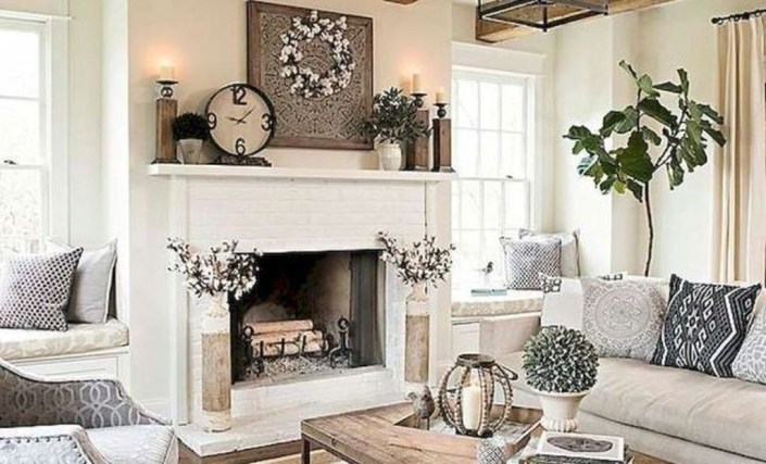 Rustic Farmhouse Fireplace Ideas For Your Living Room 53