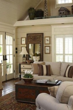 Gorgeous Farmhouse Design Ideas For Living Room 08