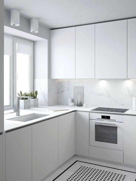 Minimalist Small White Kitchen Design Ideas 20