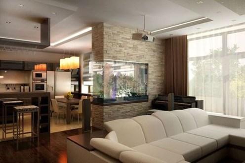 Modern Aquarium Partition Ideas For Living Room 34