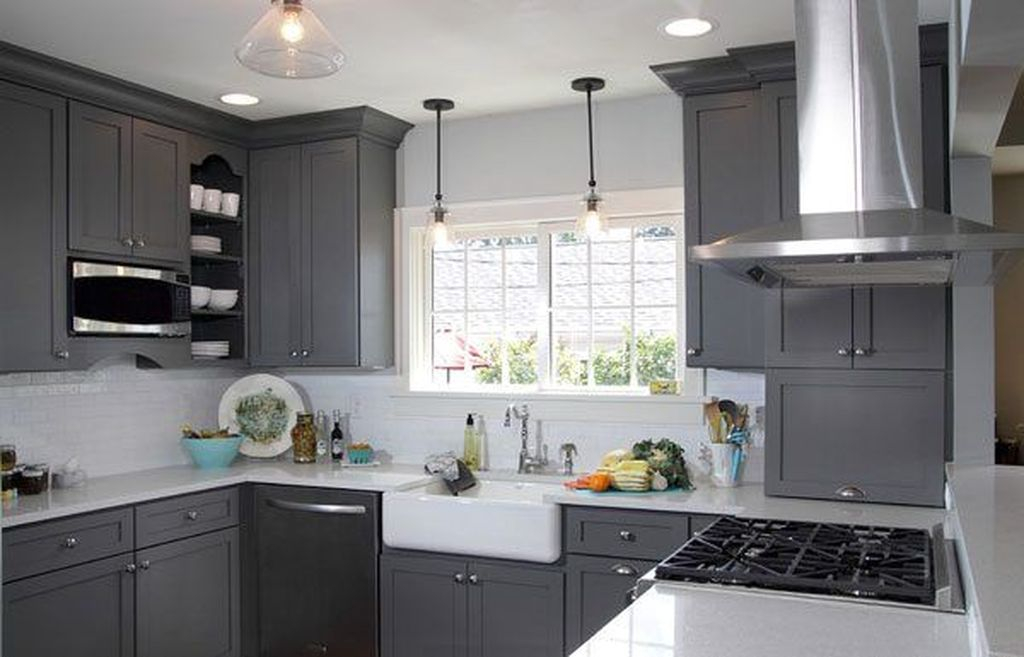Stunning Dark Grey Kitchen Design Ideas 38