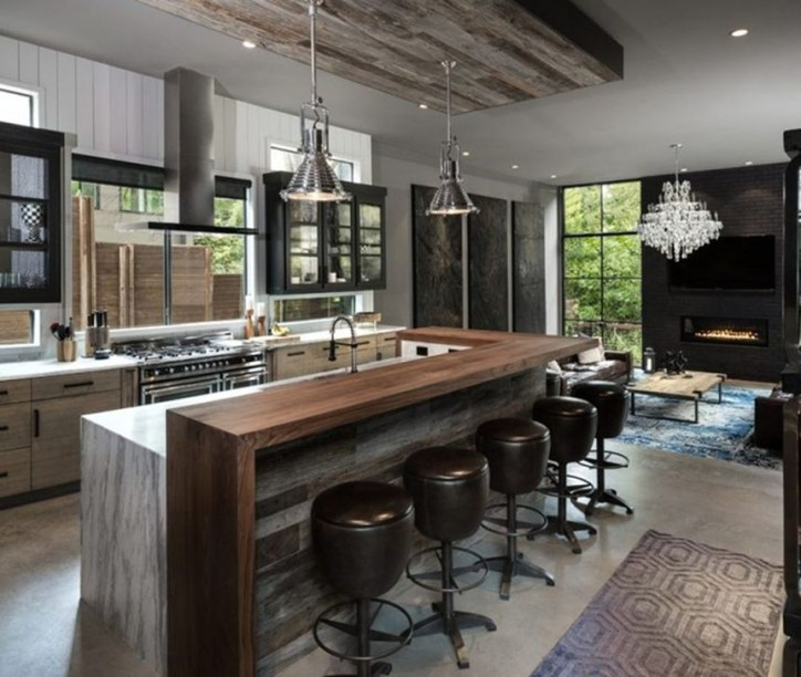 Attractive Kitchen Design Ideas With Industrial Style 44